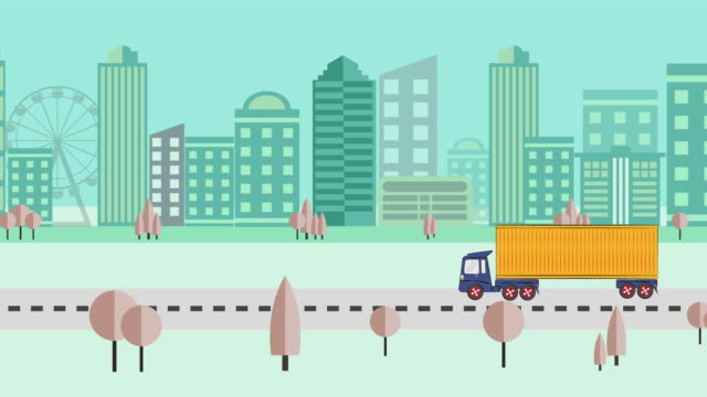 Animation of Abstract City Skyline and Transport: Transport Trucks, Seamless Background video