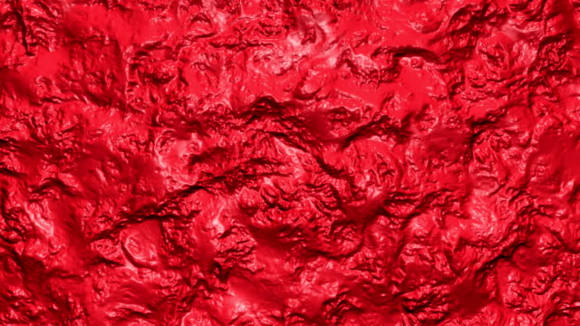 3D Animation of abstract coral red jelly liquid with waves.
