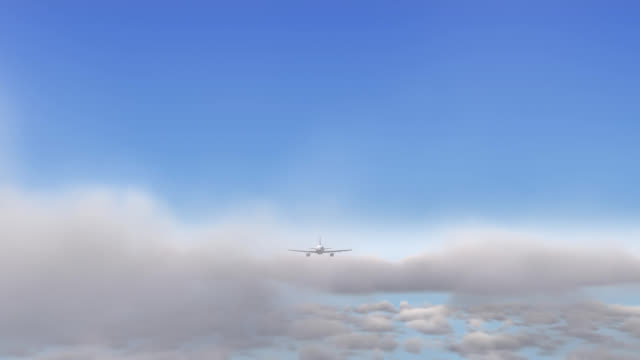 Animation of airplane flying over clouds front view video