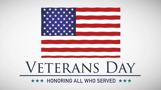 해피 재향 군인의 날을 통해 흔들리는 미국 국기의 애니메이션 - veterans day 스톡 비디오 및 b-롤 화면
