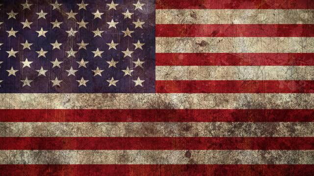 анимация американского флага с проблемным узором - состаривание стоковые видео и кадры b-roll
