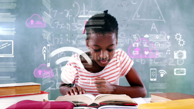 Animation of an African American schoolgirl learning with Coronavirus Covid-19 spreading