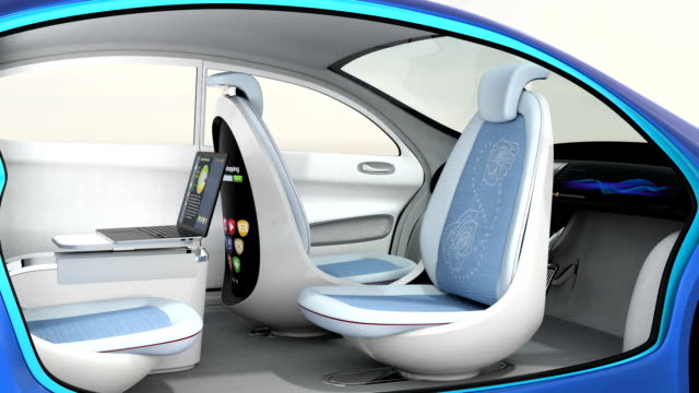 3D animation of autonomous car interior 3D animation of autonomous car interior. Rotatable backrest equip with LCD monitor. independence stock videos & royalty-free footage