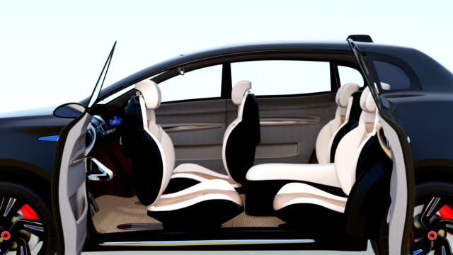 3D animation of autonomous SUV car interior concept video
