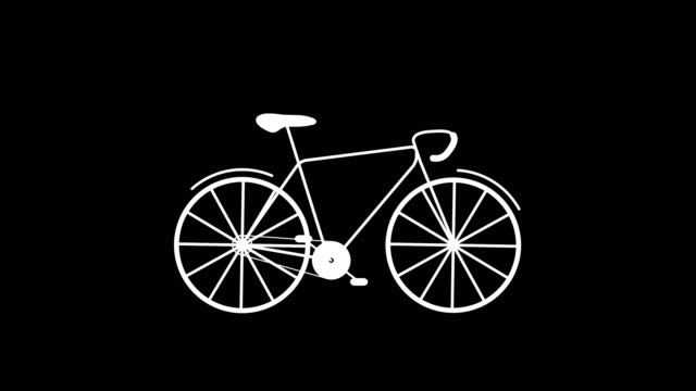 Animation of bicycle. The wheels and pedals are rotating. No people. Wit Alpha Channel. 60 FPS. Imagery about sports, traffic, health, animation. cycle vehicle stock videos & royalty-free footage