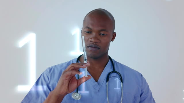 Animation of binary coding processing over African American male doctor holding a syringe in the bac