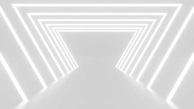 3D animation of blank white abstract background loop. 4k video 3d rendering for backdrop. Future technology tunnel construction in motion graphic. Square corridor wall. Interior modern architectural.
