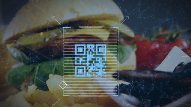 Animation of blue QR code with web connections over fast food meal