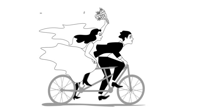 Animation of bride and groom riding tandem Just married happy couple bride and groom riding tandem bicycle with flower bouquet newlywed stock videos & royalty-free footage