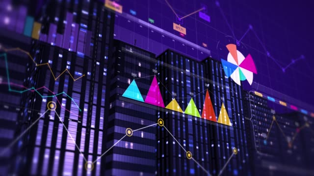 3D Animation Of Business Graphs And Charts. Financial Concept