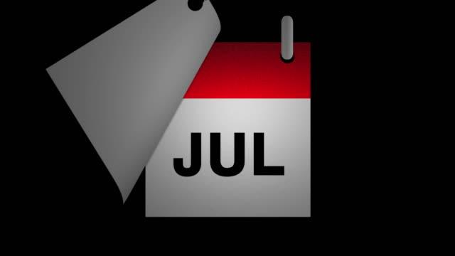 animation des kalenders und fröhlicher neujahrstext - kalender icon stock-videos und b-roll-filmmaterial