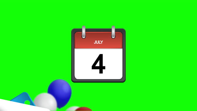 Animation of calendar with July 4 and american flag balloons on green screen background. USA Independence Day. 4th of July. Pages 1 to 4 day start to flip and fly away after tearing. Alpha channel. 4K Animation of calendar with July 4 and american flag balloons on green screen background. USA Independence Day. 4th of July. Pages 1 to 4 day start to flip and fly away after tearing. 4K. Alpha channel independence stock videos & royalty-free footage
