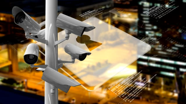 Animation of CCTV cameras moving around and online security padlock icon with cityscape in backgroun