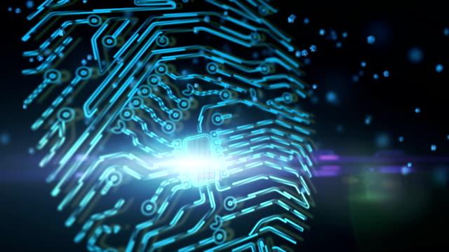 チップ指印刷概念のアニメーション。指紋のスキャナーを介してアクセスの最新技術。指紋のスキャンのセキュアなアクセス - センサー点の映像素材/bロール
