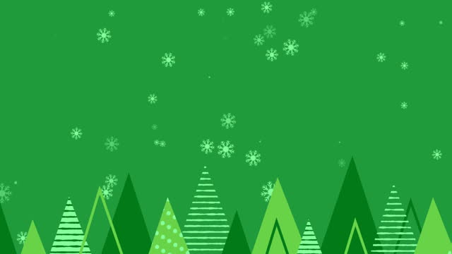 Animation of christmas trees and snowflakes falling on green background