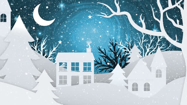 Animation of christmas winter scenery with crescent moon Animation of christmas winter scenery with crescent moon, houses and tree on blue background. christmas festivity celebration concept digitally generated image. holiday stock videos & royalty-free footage