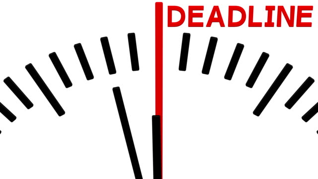 Animation of clock countdown to deadline.