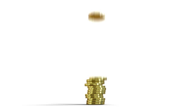 3D animation of coins piling 3D animation of coins piling on white background financial building stock videos & royalty-free footage