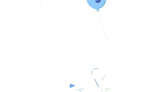 Animación de coloridos globos y confeti explosión aislado fondo blanco - vídeo