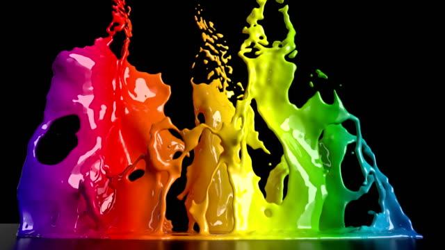 CG-Animation von bunten Farbspritzern – Video