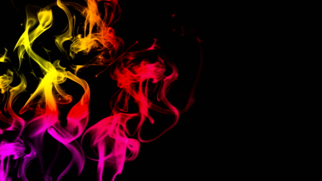 CG animation of colorful smoke on a black background. Juicy and fresh color. 3D rendering video