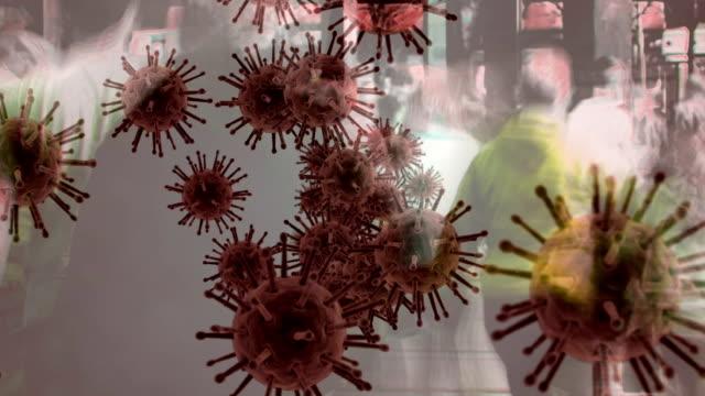 animation of corona virus with people in background - rozkładać filmów i materiałów b-roll