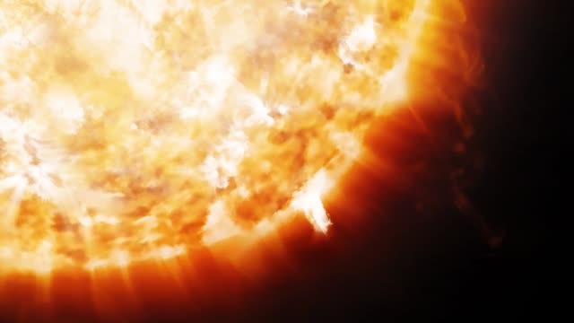animation of coronal emissions and prominences on the sun in space - flare video stock e b–roll