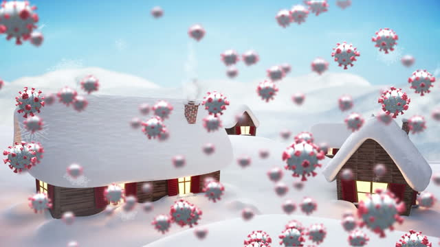 Animation of covid 19 cells moving over winter scenery with snow covered houses and snow falling