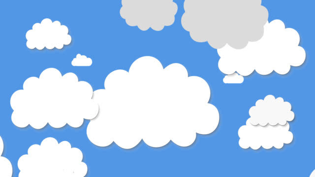 Animation of cut outs of white and grey clouds on blue sky in the background