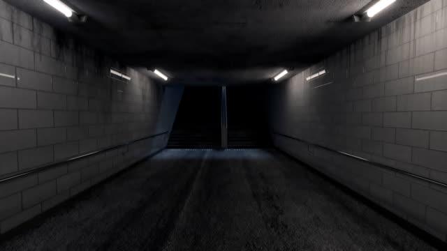 stockvideo's en b-roll-footage met animatie van donkerder onderdoorgang met verlichting en trap aan het eind bij nacht - stadsweg