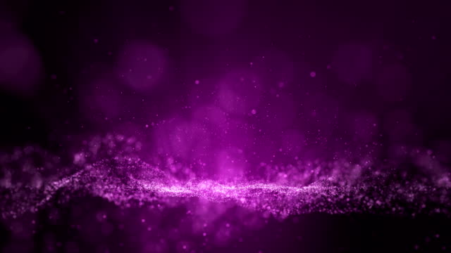 Animation of digital pink purple dust particles and light ray beam, Small sphere particle line rise up. - vídeo