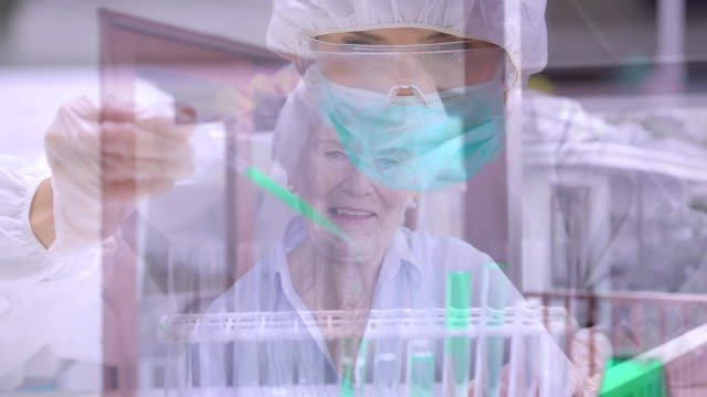 Animation of doctor scientist wearing coronavirus Covid19 mask and senior woman smiling