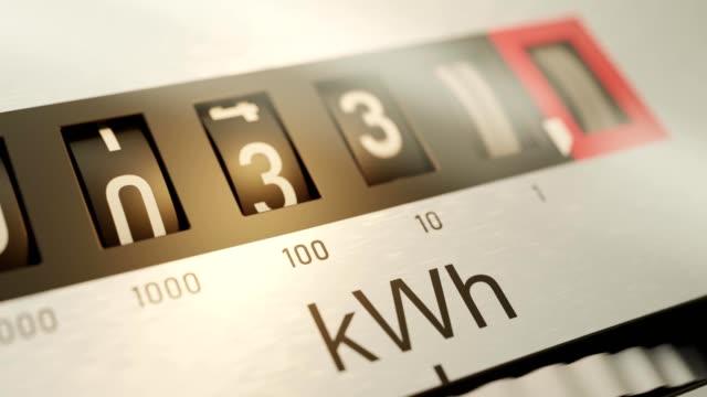 animazione del contatore elettrico e del consumo energetico. - consumismo video stock e b–roll