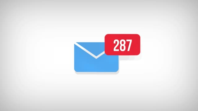 Animation of Email envelope with auto counting number on red circle. White background with alpha channel, 4K.