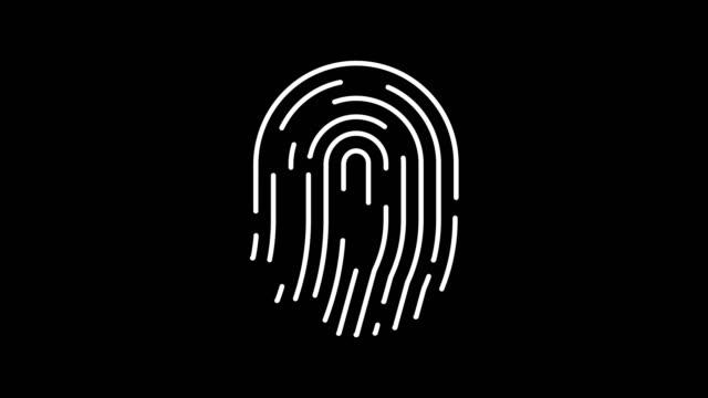 animazione dell'alfa opaco delle impronte digitali. elaborazione digitale futuristica touch id del concetto di scanner biometrico. scansione di sicurezza delle applicazioni di sblocco del telefono cellulare con le dita - pollice parte del corpo video stock e b–roll