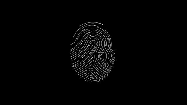 黒と白の色の指紋のアニメーション、バイオメトリックスキャナの概念。 - センサー点の映像素材/bロール