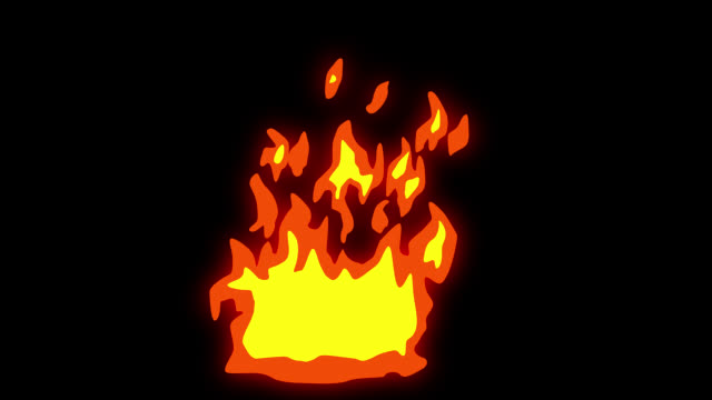 Animation of Fire Burning - Cartoon Fire - Alpha Channel, Overlay, Screen Mode - Infinite Loop stock video Alpha channel will be included when downloading the 4K Apple ProRes 4444 file only fire natural phenomenon stock videos & royalty-free footage