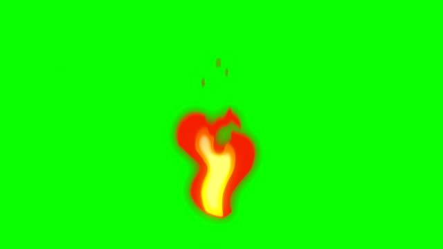 animation der feuer - feuer cartoon - green box - endlosschleife - brennen stock-videos und b-roll-filmmaterial