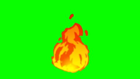 vídeos de stock e filmes b-roll de animation of fire burning - cartoon fire - green box - infinite loop - chama