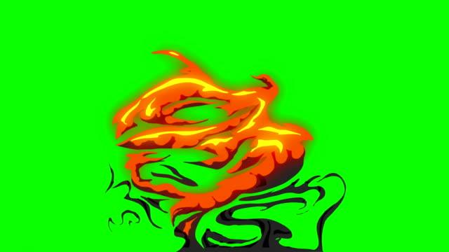 animation of fire burning - cartoon fire - green box - infinite loop - стрелять стоковые видео и кадры b-roll