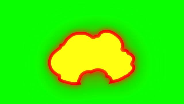 vídeos de stock, filmes e b-roll de animação de fogo ardente - desenhos animados de fogo - verde caixa - loop infinito - ilustração e pintura