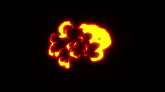 animation of fire burning - cartoon fire - overlay alpha channel - infinite loop - стрелять стоковые видео и кадры b-roll