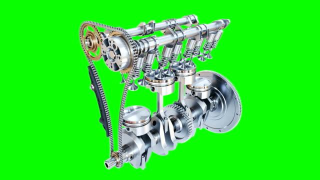 animazione del motore a combustione interna a quattro tempi. canale alfa. 3d - a forma di blocco video stock e b–roll
