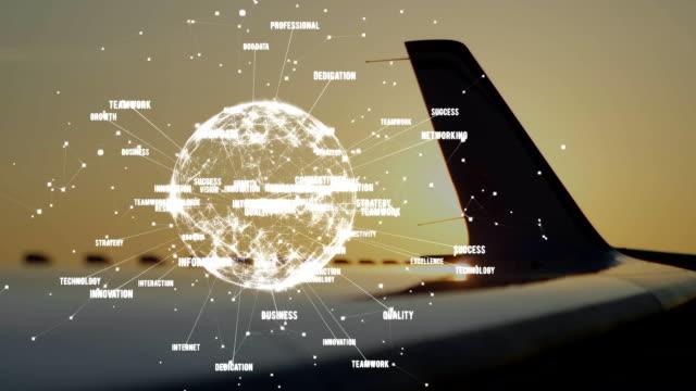animation des globalen netzes von verbindungen mit flugzeug im hintergrund - travel stock-videos und b-roll-filmmaterial