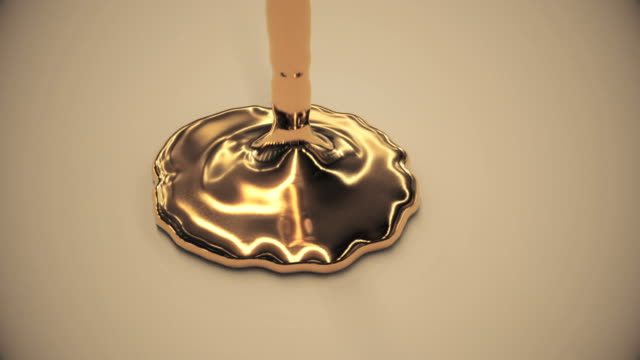 Animation of gold liquid pouring.