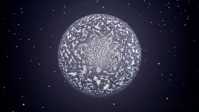 Animation of growth silver metal wire sphere. Magic concept. Abstract futuristic digital art. 3d rendering. HD resolution.