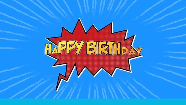 Animation Of Happy Birthday Written In Yellow On A Red Cartoon Bubble On A Blue Background Stock Video Download Video Clip Now Istock