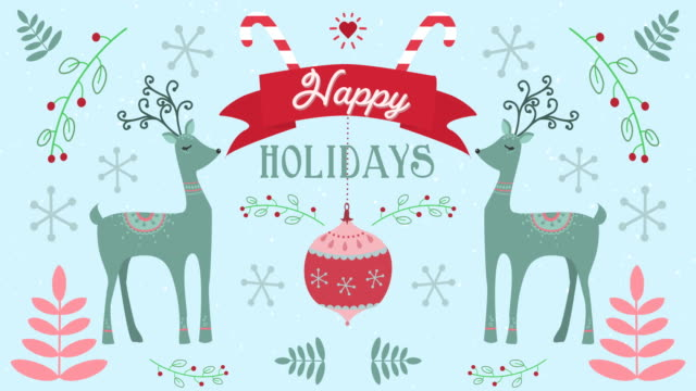 animation of happy holidays words with moving deers on christmas decorations background - happy holidays stock videos & royalty-free footage