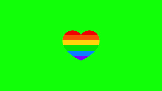 Animation of heart with LGBT flag on a green screen. Homosexual heart. Animation of heart with LGBT flag on a green screen. Homosexual heart. Colorful stripes. pride stock videos & royalty-free footage