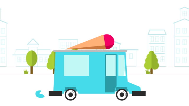 Animation of ice cream delivery van video